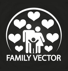 Happy love family logo design - parents with kid vector