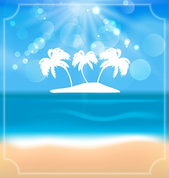 Holiday summer card with beautiful beach and palms vector image vector image