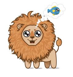 hungry lionlion cub dreams of delicious fish vector image vector image