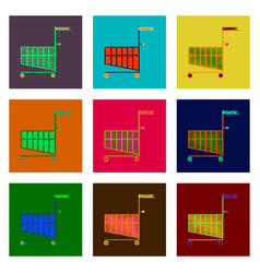 set of flat shading style icon shopping cart black vector image