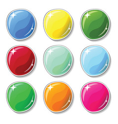 shiny colorful buttons with glass surface effect vector image vector image
