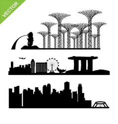 Singapore city landmark silhouettes vector image vector image