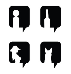 speech bubble in black with icon set vector image vector image