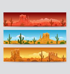 Wild nature desert mexican landscape banners vector