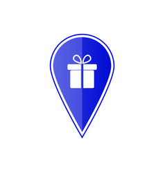 blue map pointer with gift box vector image