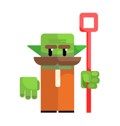dwarf with a green face and a staff in his hands vector image vector image