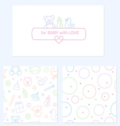 Set of design elements of baby theme vector