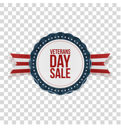 Veterans day sale realistic patriotic emblem vector