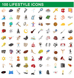 100 lifestyle icons set cartoon style vector