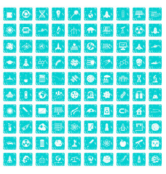 100 space icons set grunge blue vector image