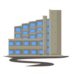 1970s building concrete construction in 70s style vector