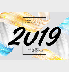 2019 merry christmas and happy new year card vector image