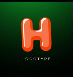 3d playful letter h kids and joy style symbol vector image