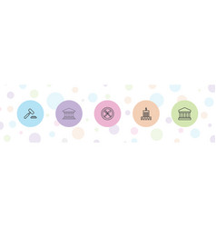 5 court icons vector