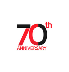 70 years anniversary logotype with black and red vector