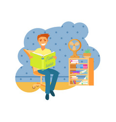 a man sitting and reading a book vector image