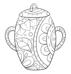 Adult coloring bookpage a cute jar with ornaments vector