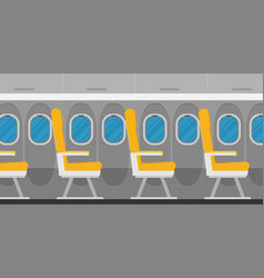 aircraft interior with windows and seats colorful vector image
