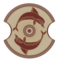 Ancient greek shield the image of a dolphin vector
