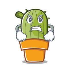 angry cute cactus character cartoon vector image