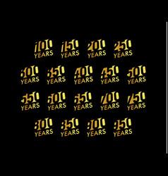 anniversary cursive numbers set birthday vector image