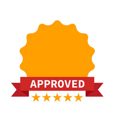 approved certificate icon with five stars vector image