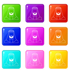 Arabic man in traditional muslim hat set 9 vector
