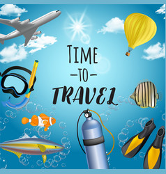 background with beach and travel elements vector image