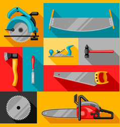 Background with equipment and tools for forestry vector