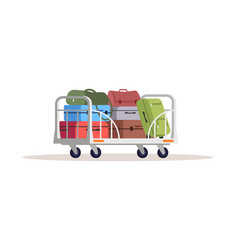Baggage on cart semi flat rgb color airport vector
