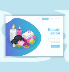 beauty salon isometric landing page vector image