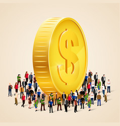 big people crowd around golden coin business vector image