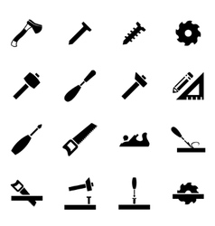black carpentry icon set vector image