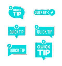 Blue quick tips logo icon or symbol set vector