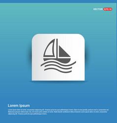 Boat icon - blue sticker button vector