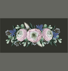 bouquet with delicate ranunculus eucalyptus and vector image