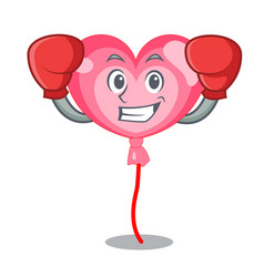 boxing ballon heart character cartoon vector image