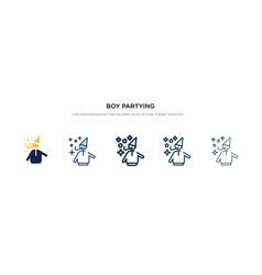 Boy partying icon in different style two colored vector