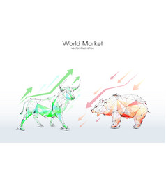 Bull and bear stock exchange low poly vector