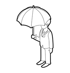 Business man with umbrella icon outline style vector image