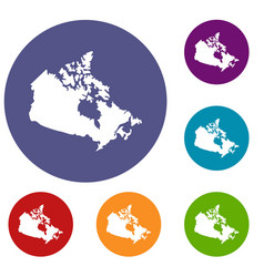 Canada map icons set vector