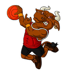 cartoon bull basketball mascot vector image