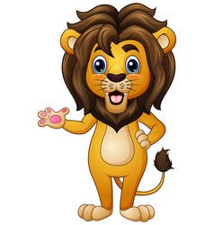 Cartoon lion waving vector