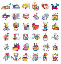 Circus zone icons set cartoon style vector