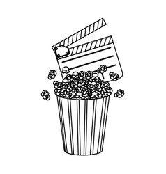 Clapper board and pop corn icon vector