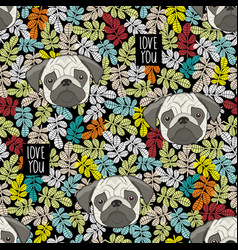 Colorful pattern with cute dog faces and love vector
