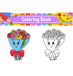 Coloring book for kids bouquet flowers roses vector