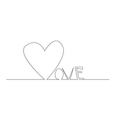 continuous line drawing hearts of word love vector image