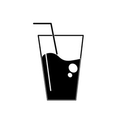Contour water glass to freshness and healthylife vector