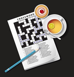 Crossword game mug of tea and cup vector
